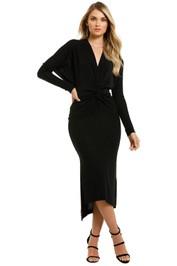 Lover-Marcia-Twist-Knot-Lurex-Midi-Dress-Black-Front