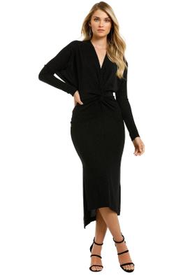 Lover-Marcia-Twist-Knot-Lurex-Midi-Dress-Black-Front