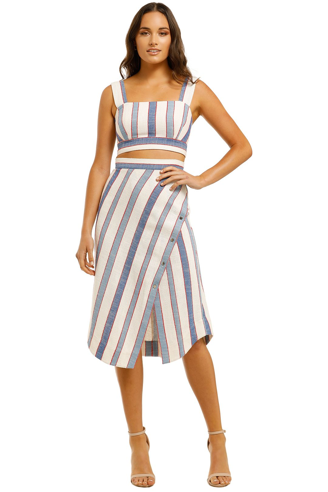 Lover-Marrakech-Crop-Top-and-Skirt-Set-Blue-Ivory-Front