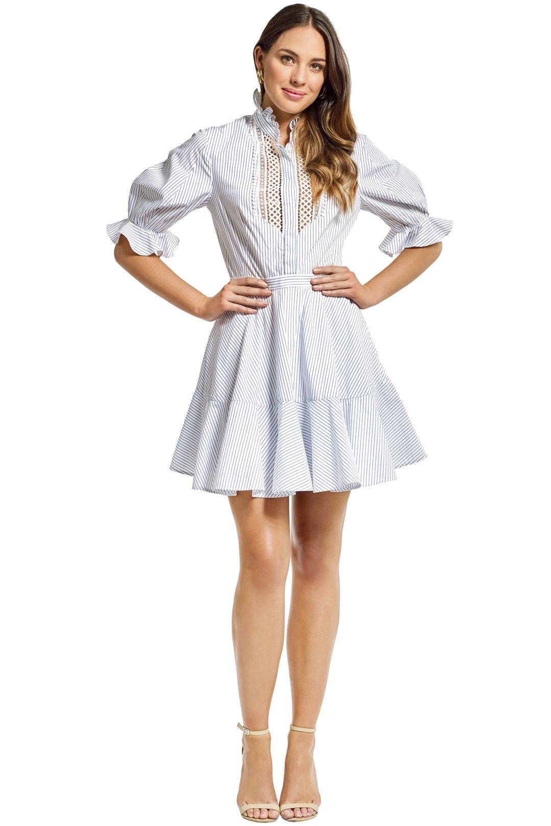 Lover - Abbey Trim Dress - White - Front