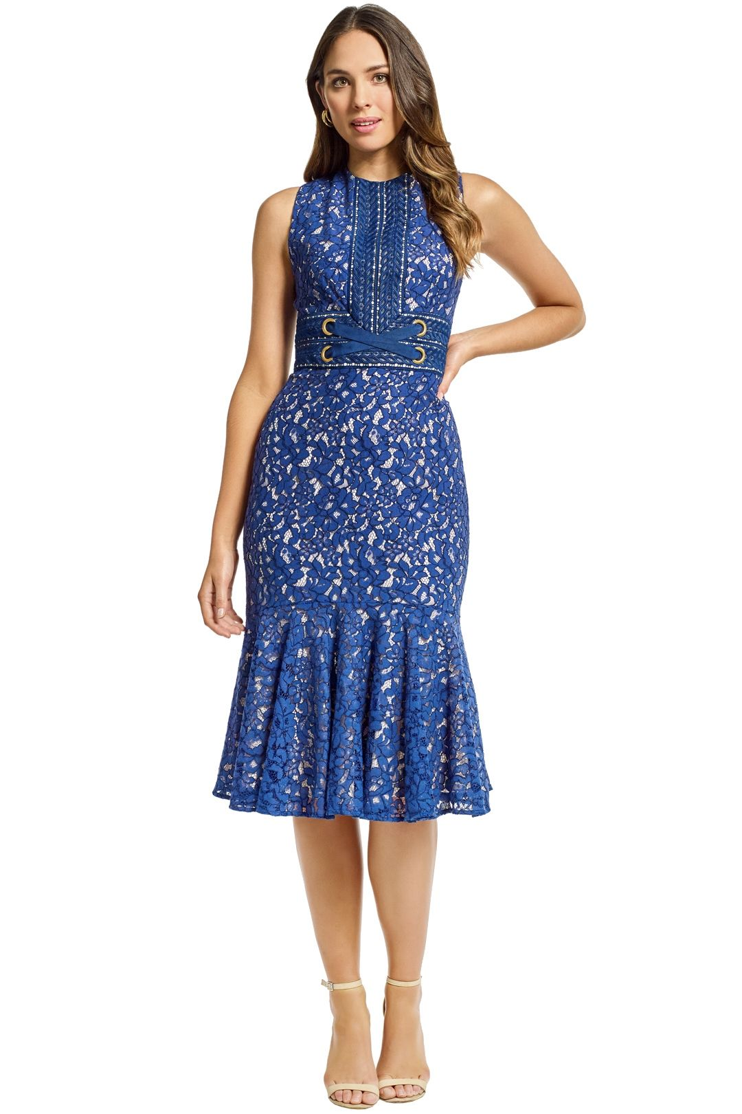Lover - Flora Midi Dress - Indigo - Front