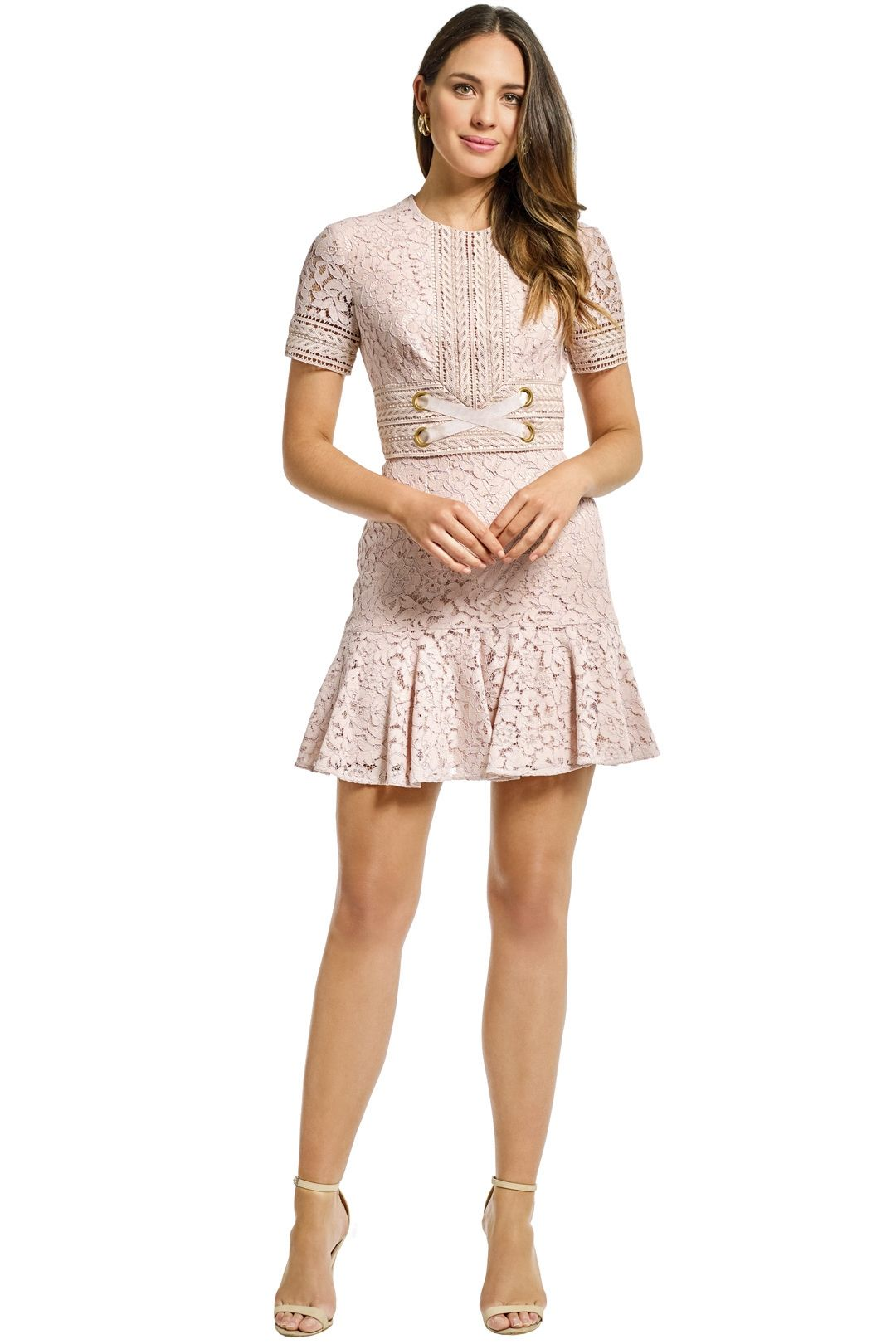 Lover - Flora Mini Flip Dress - Champagne - Front