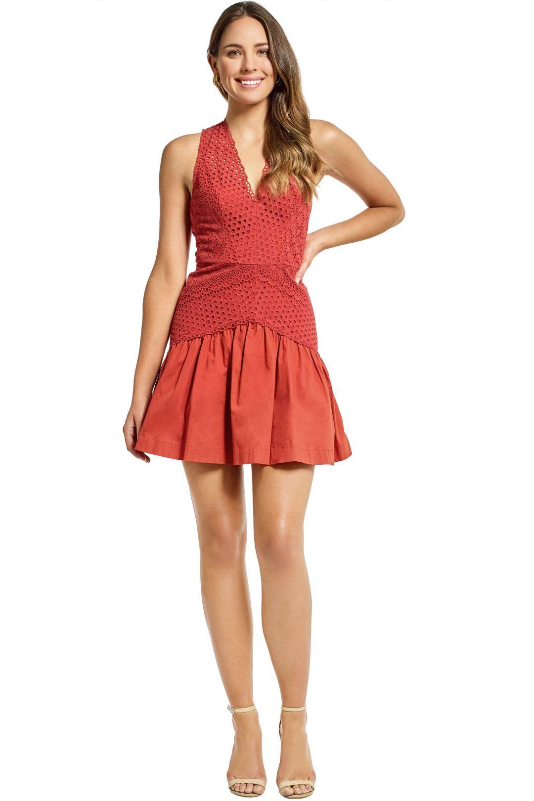 Lover - Garland Sleeveless Mini Dress - Umber - Front