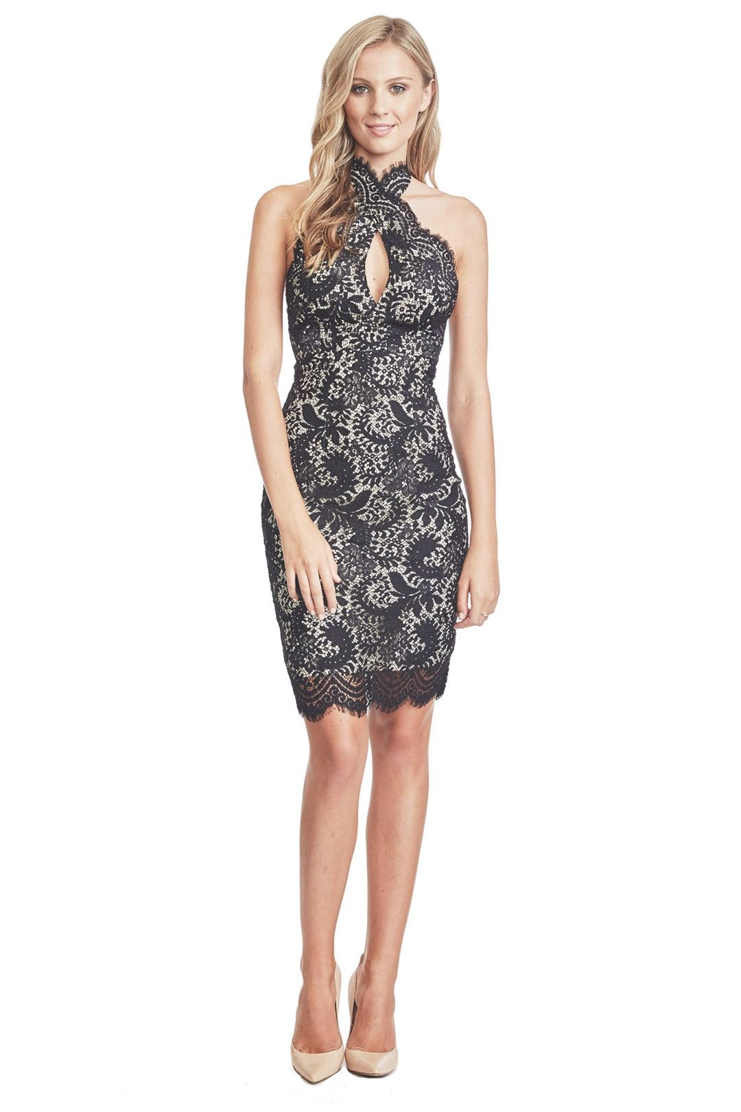 Lover - Mia Twist Dress - Black Lace - Front