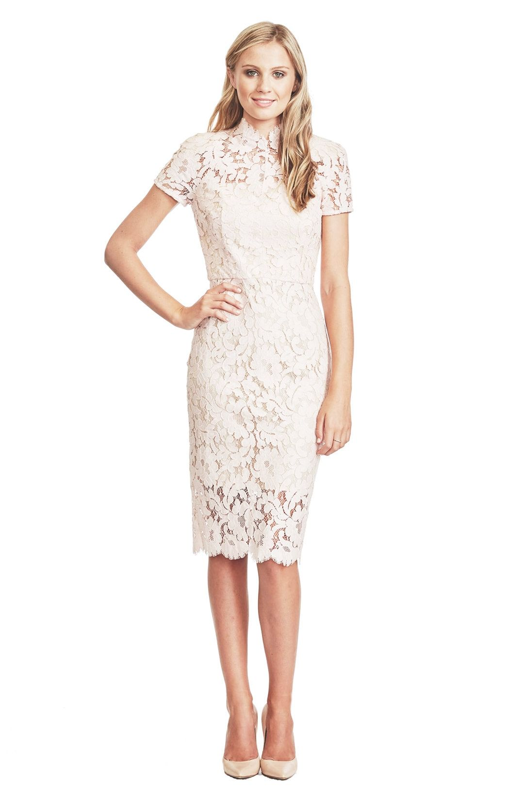 Lover - Midi Warrior Lace Dress - Rose - Front