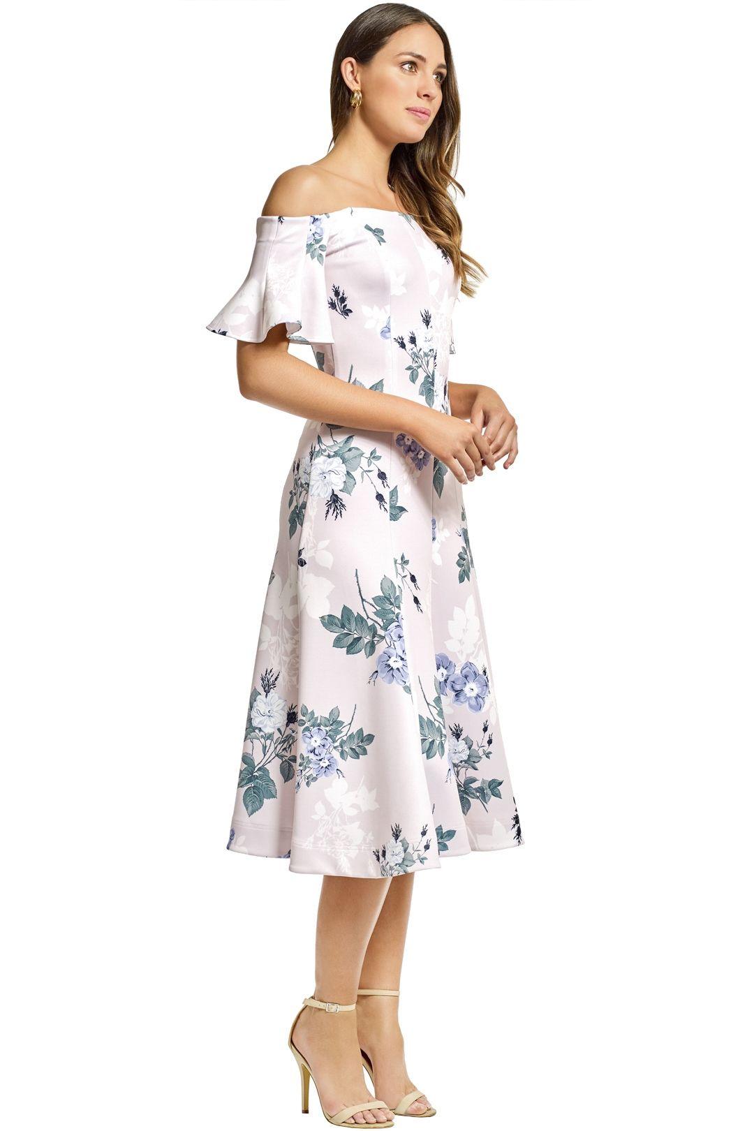 Lover - Petunia Off Shoulder Midi Dress - Pearl - Side