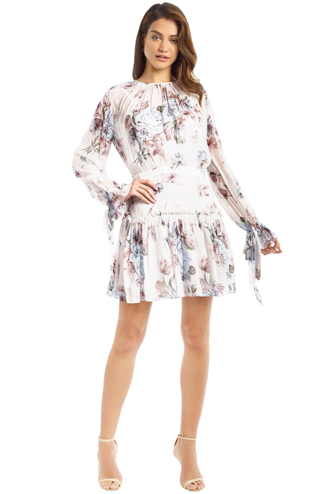 Lover - Posy Georgette Mini Dress - Ivory - Front