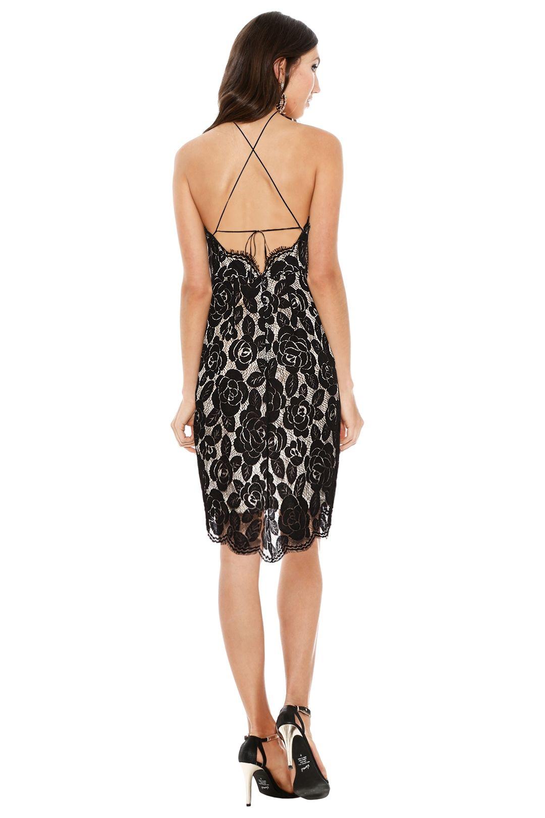 Lover - Rosebud Lace Knit Halter Dress - Black - Back