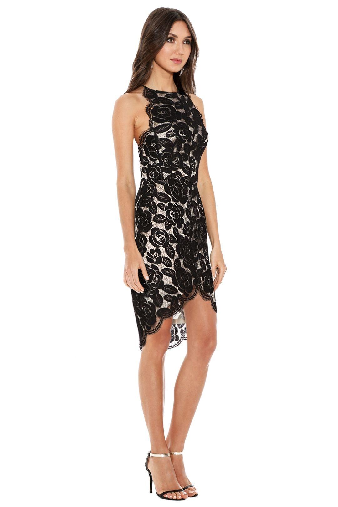 Lover - Rosebud Lace Knit Halter Dress - Black - Side