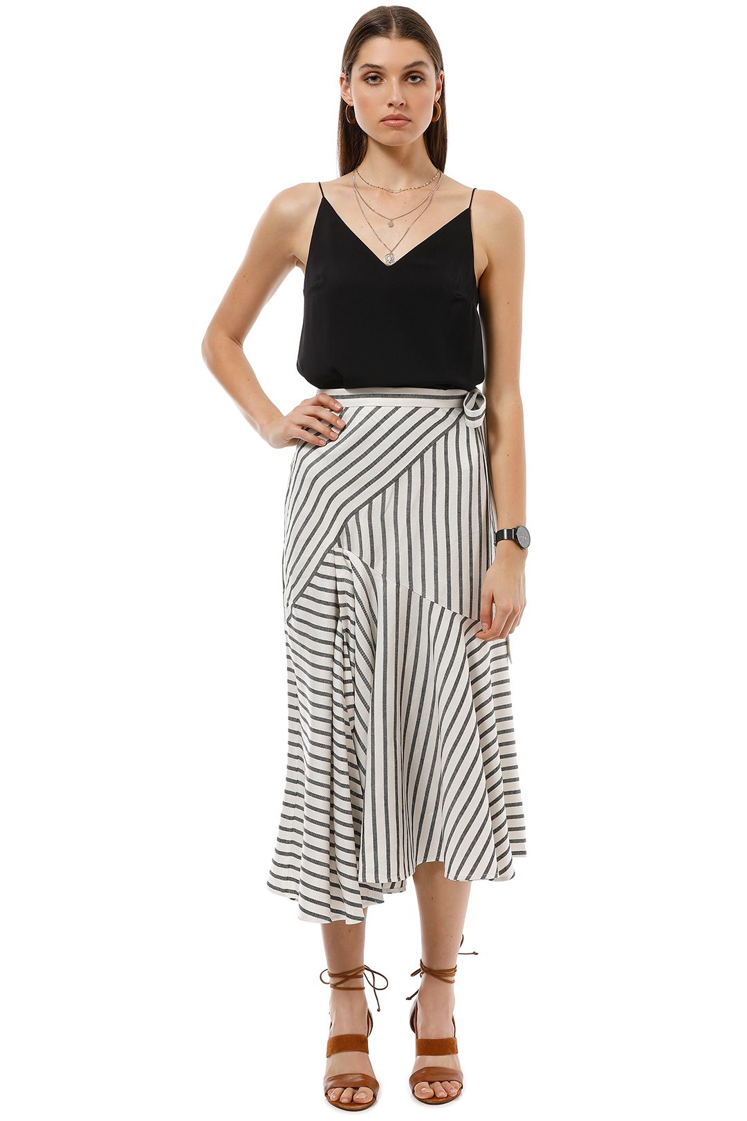 Lover the Label - Marinere Midi Skirt - Stripe - Front