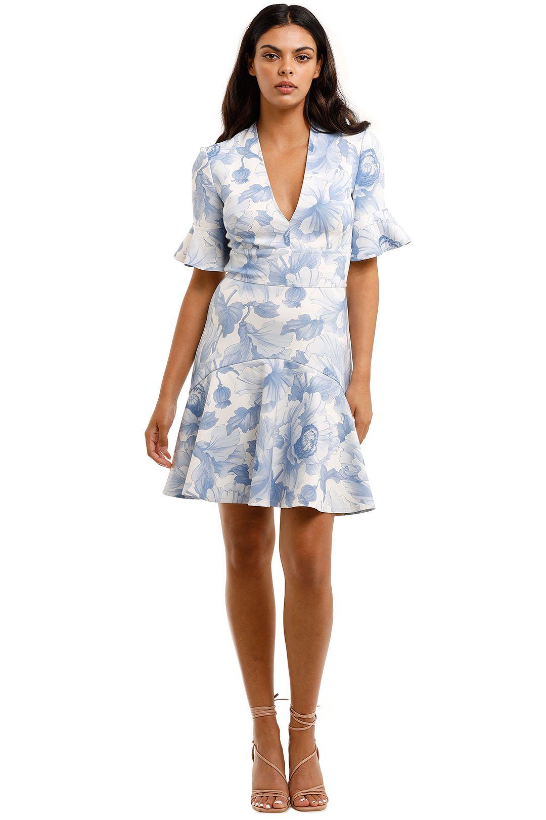 Lover the Label Fleur V Flip Dress blue mini