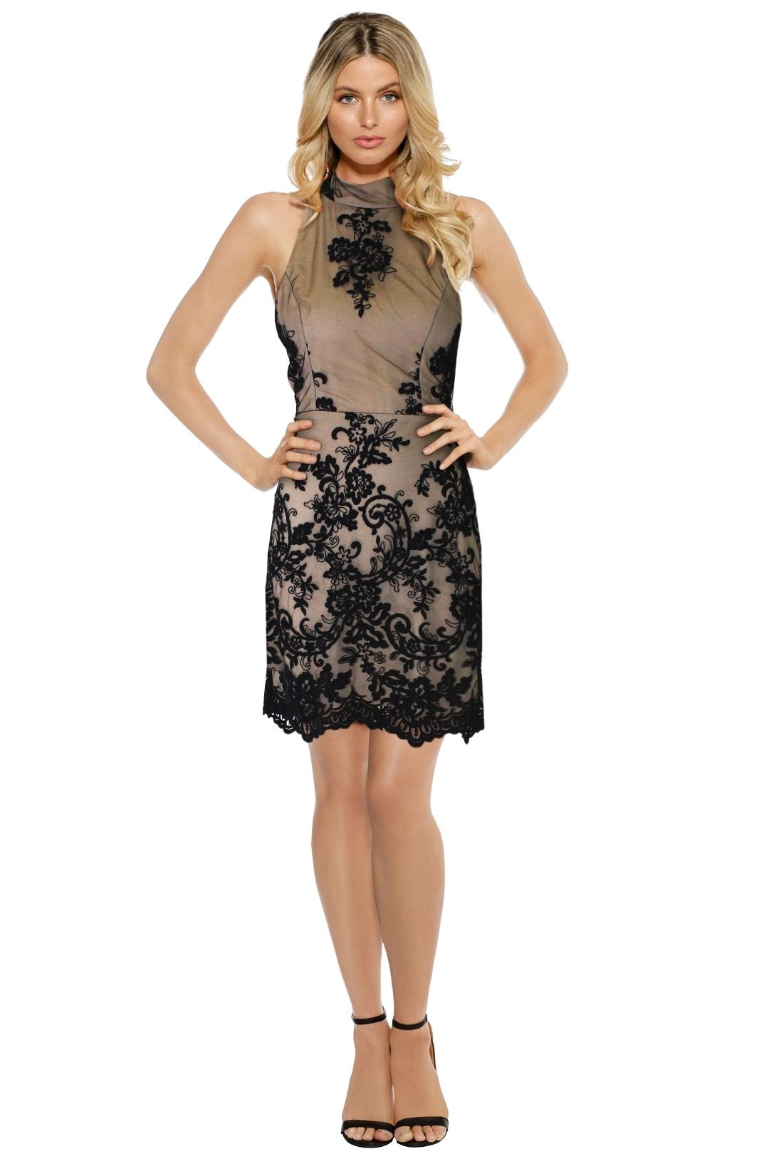 LUOM.O - Caprice Lace Halter Dress - Nude - Front