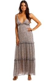 Magali Pascal Victory Dress Maxi Brown Plunge V Neckline