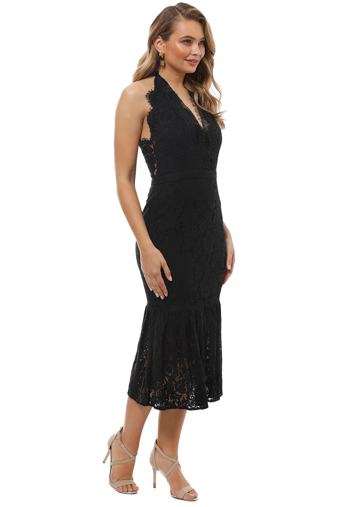 Maison Vivienne - Bitter Sweet Halter Midi Dress - Black - Side