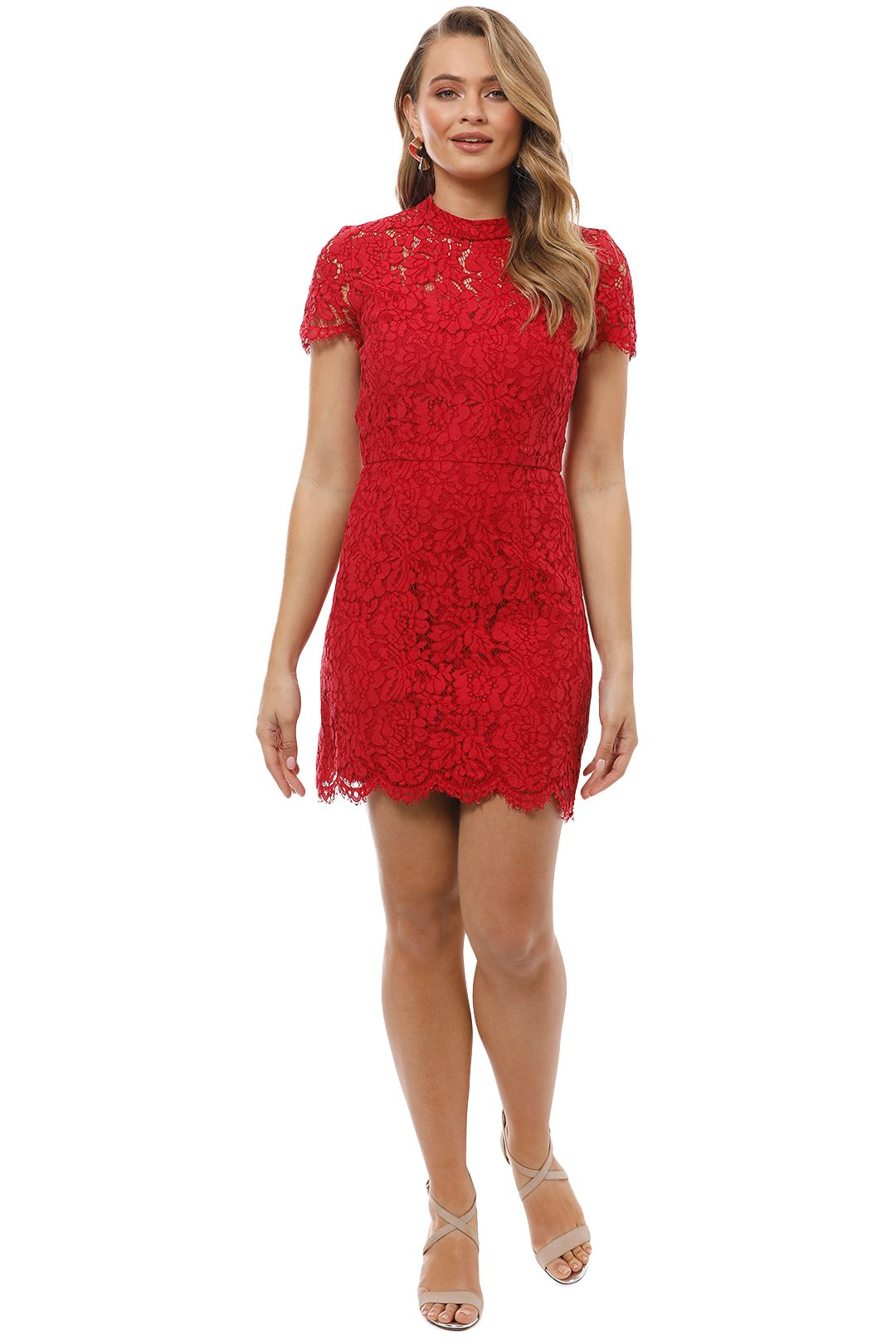 Maison Vivienne - Bitter Sweet High Neck Mini Dress - Red - Front