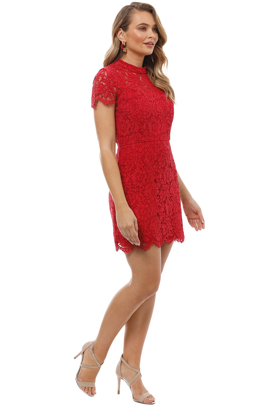 Maison Vivienne - Bitter Sweet High Neck Mini Dress - Red - Side