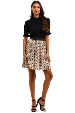 Maje Jockilana Printed Plissé Crepe De Chine Mini Skirt