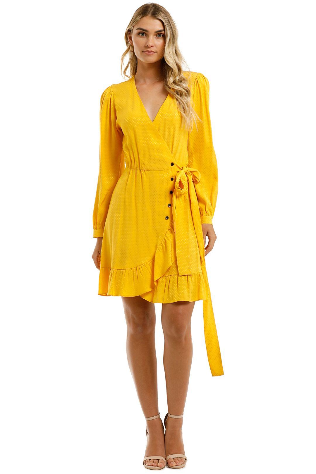 Maje Sunny-Yellow-Wrap-Tie-Dress-Front
