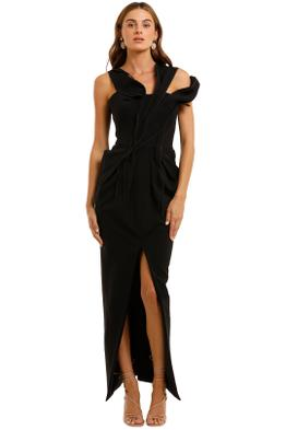 Maticevski Abide Gown black off shoulder