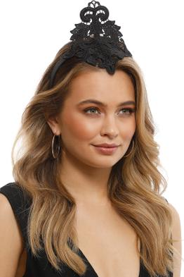 Max Alexander - Lace Crown Fascinator - Black - Side Model