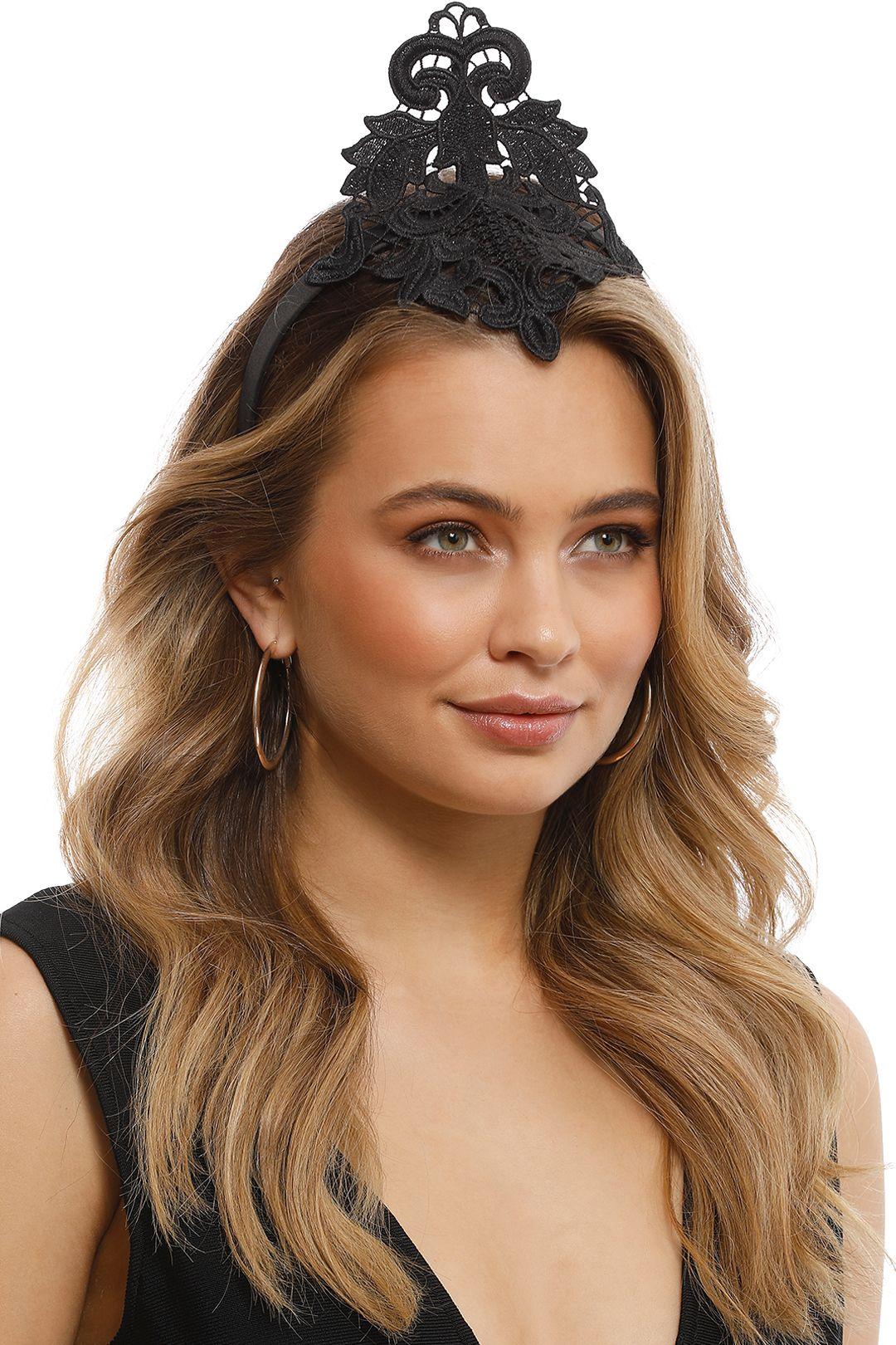 Max Alexander - Lace Crown Fascinator - Black - Side Model