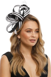 Max Alexander - Striped Feather Fascinator - Black and White - Side Model