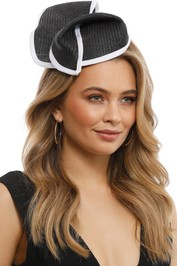 Max Alexander - Twisted Pillbox Fascinator - Black and White - Front Model