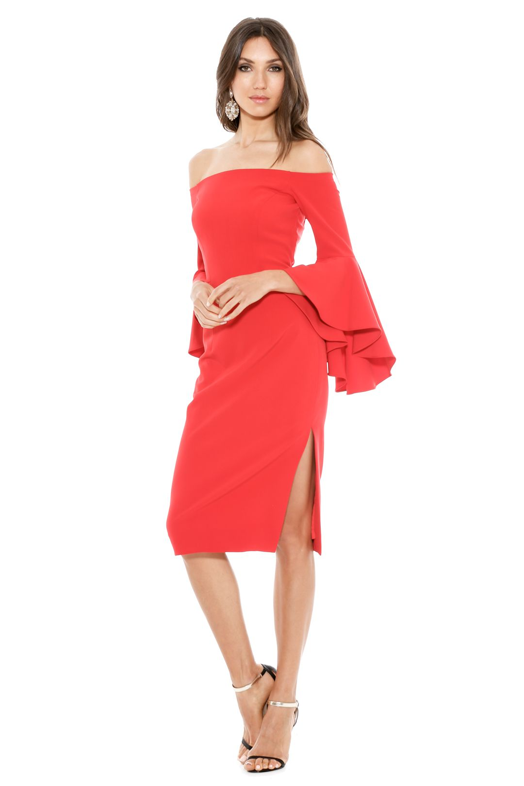 Milly - Cady Selena Slit Dress - Tomato - Front