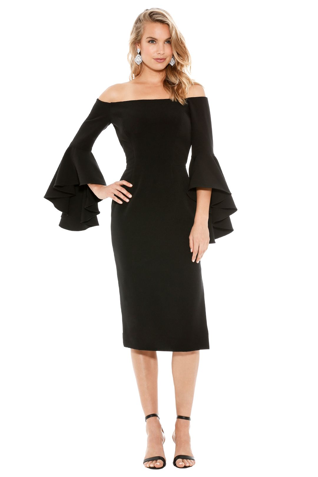 Milly - Cady Selena Slit Dress - Front - Black