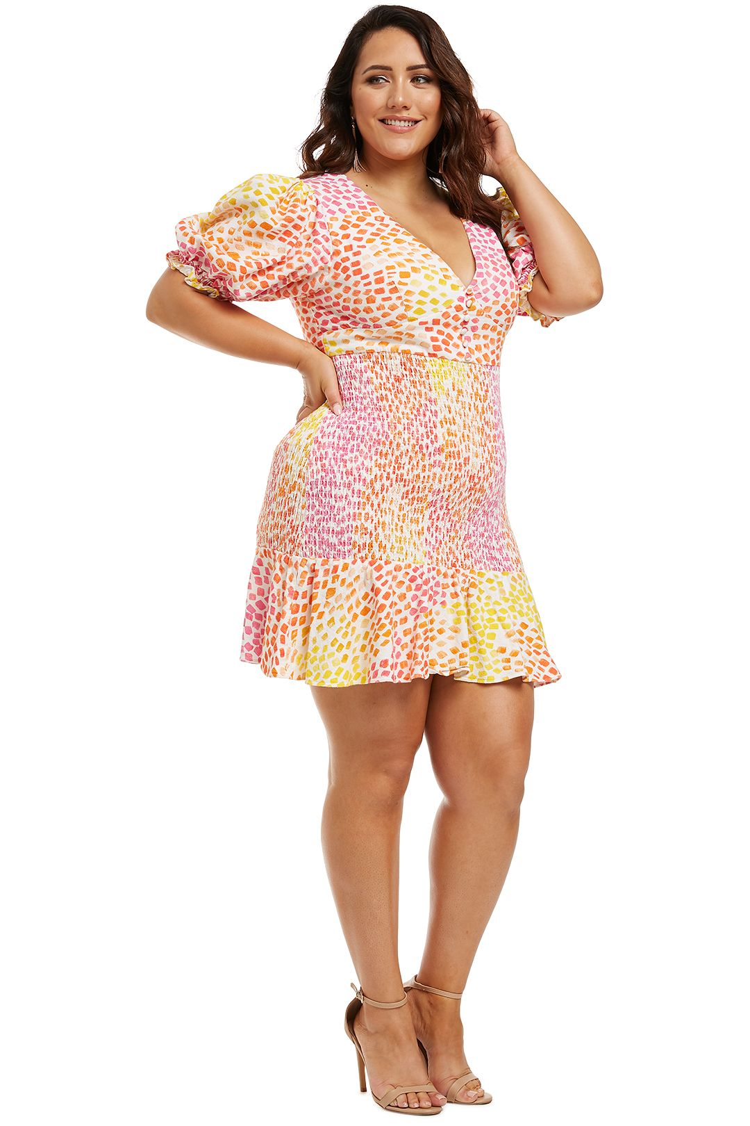 Ministry-of-Style-Gazania-Mini-Dress-Pink-Yellow-Side