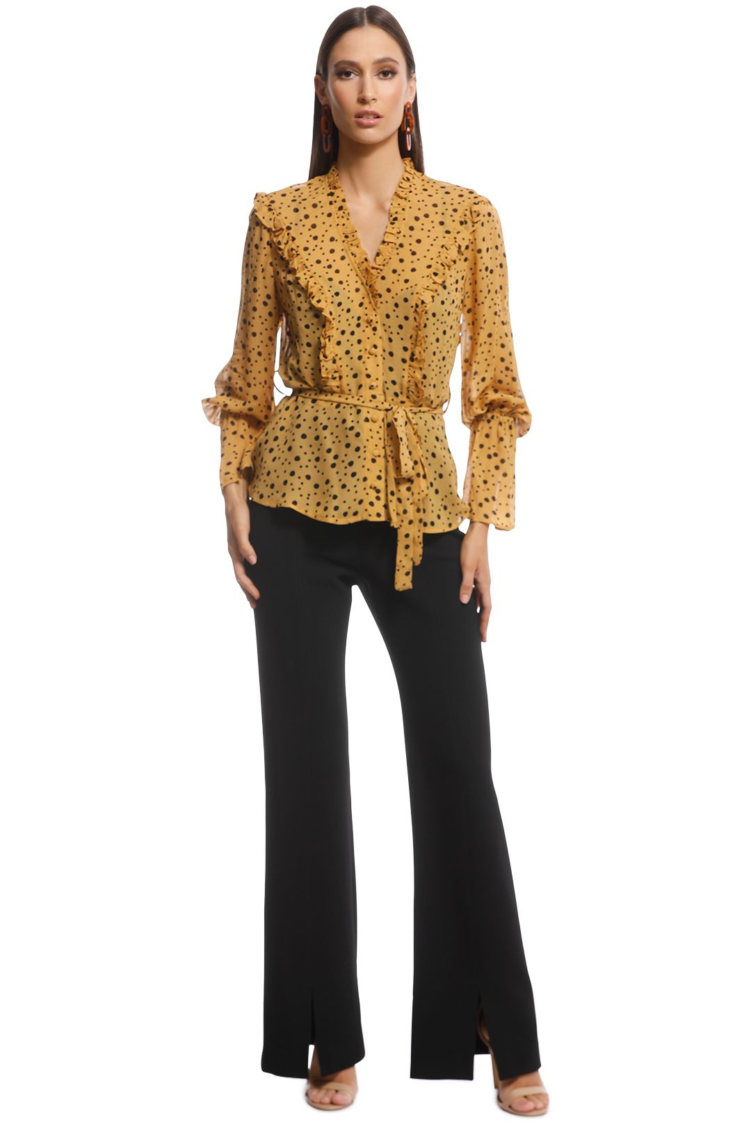 Ministry of Style - Songbird Top - Yellow Polkadot - Front