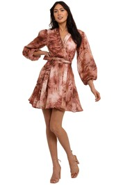 Ministry Of Style Vacay Tie-Dye Wrap Mini Dress print