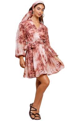 Ministry Of Style Vacay Tie-Dye Wrap Mini Dress Long Sleeve