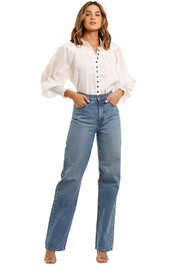 Ministry of Style Wrangler Shirred Blouse cuff v neck