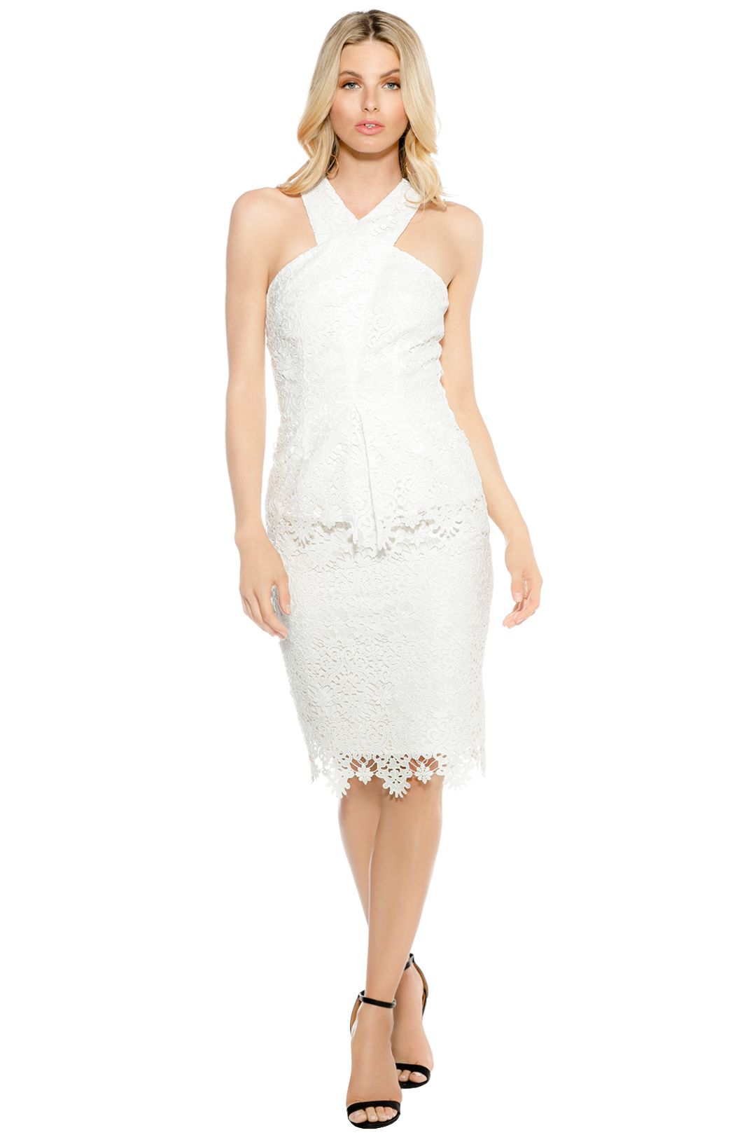 Ministry of Style - Cross Section Fitted Midi Dress - Ivory - Front