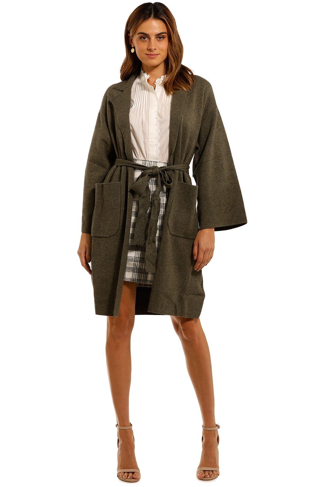 Mink Pink Harriett Long Coat khaki