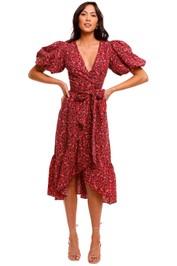 Mink Pink Raphaela Wrap Frill Midi Dress cutout