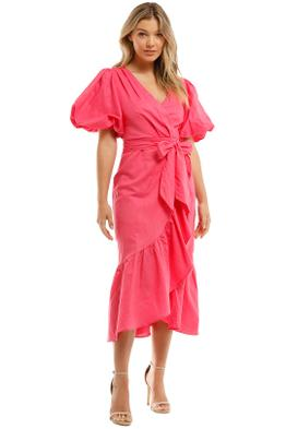 Mink Pink Wrap Frill Midi Dress Pink