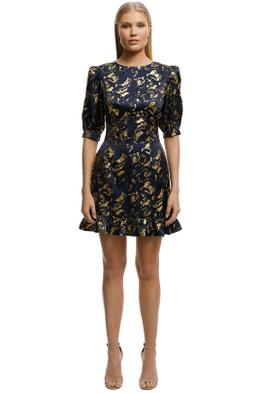 Misha-Collection- Havannah-Printed-Dress-Black-Gold-Front