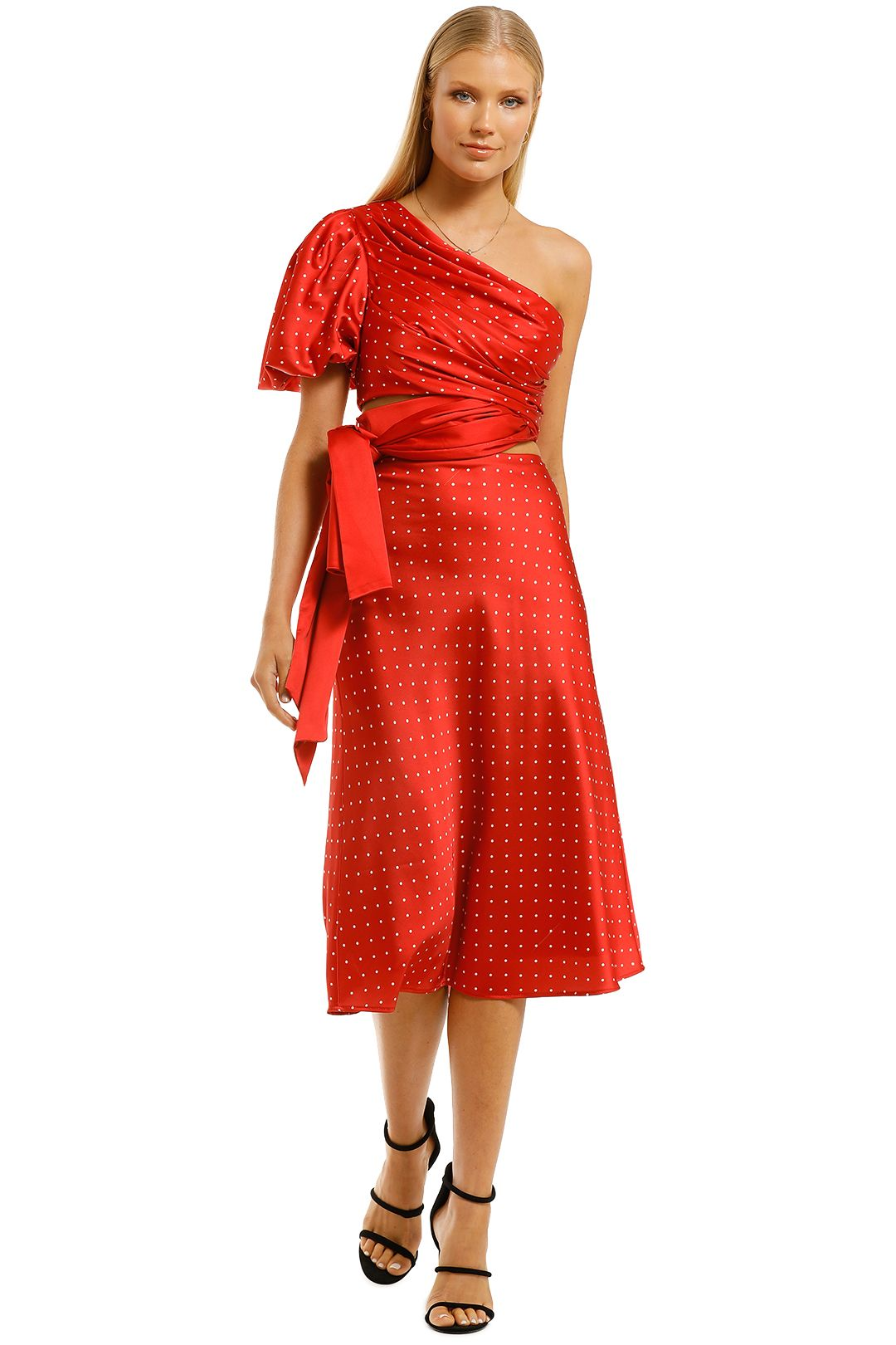 Misha-Dellie-Skirt-and-Toria-Top-Set-Red-Spot-Front