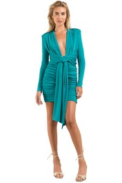 Misha-Paola-Dress-Emerald-Front
