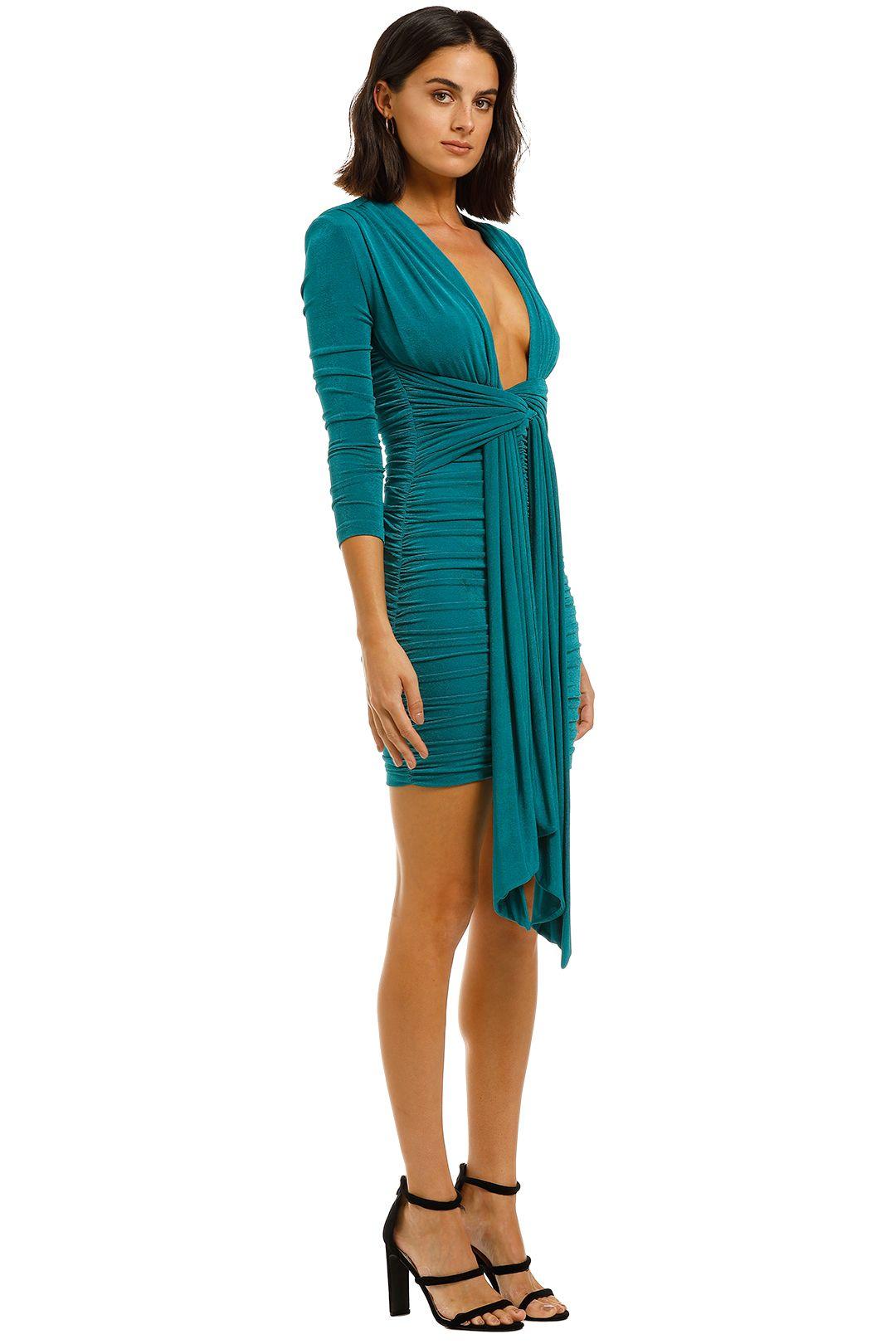 Misha-Paola-Dress-Emerald-Side