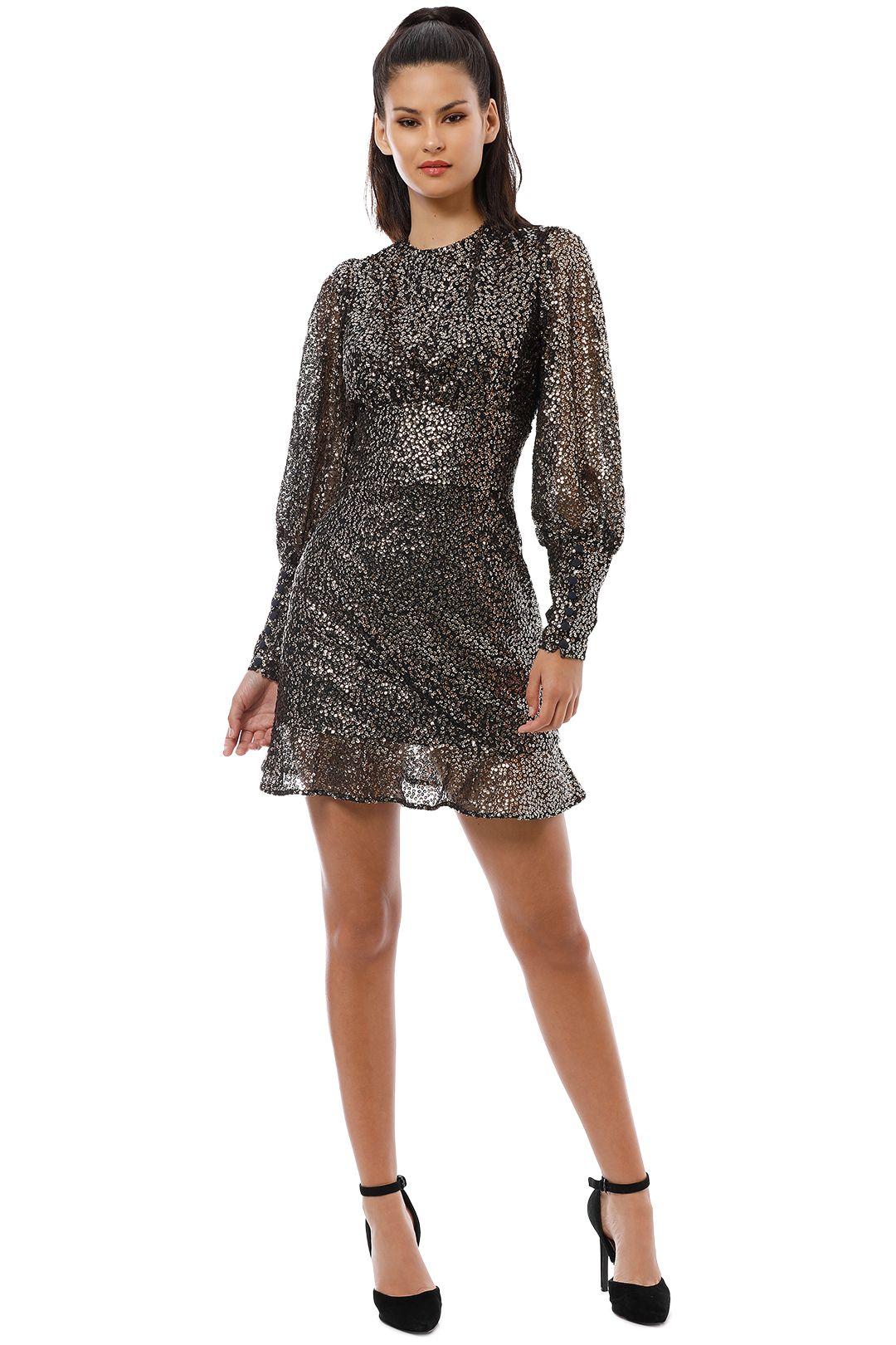 Misha Collection - Brielle Mini Dress - Black Gold - Front