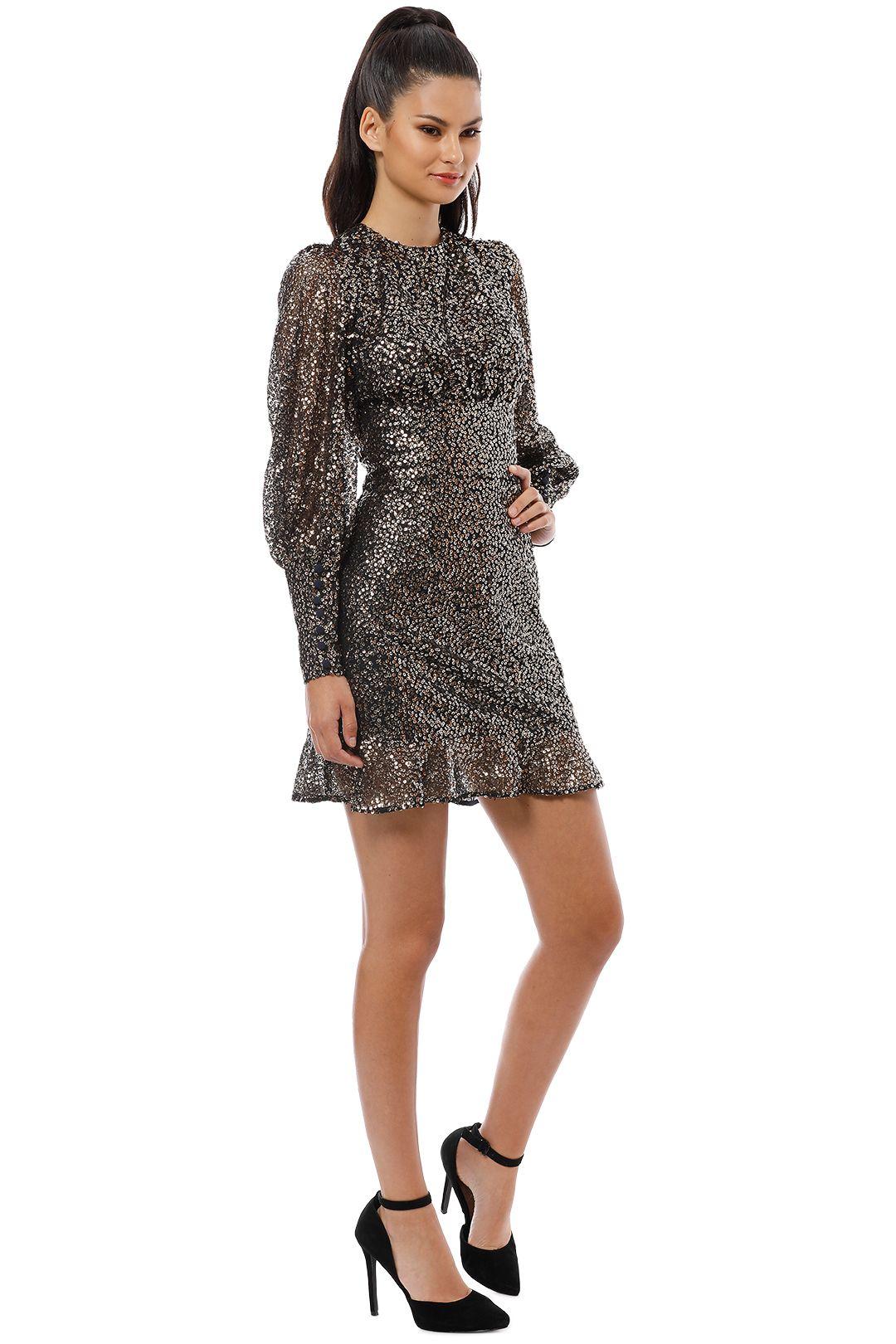 Misha Collection - Brielle Mini Dress - Black Gold - Side
