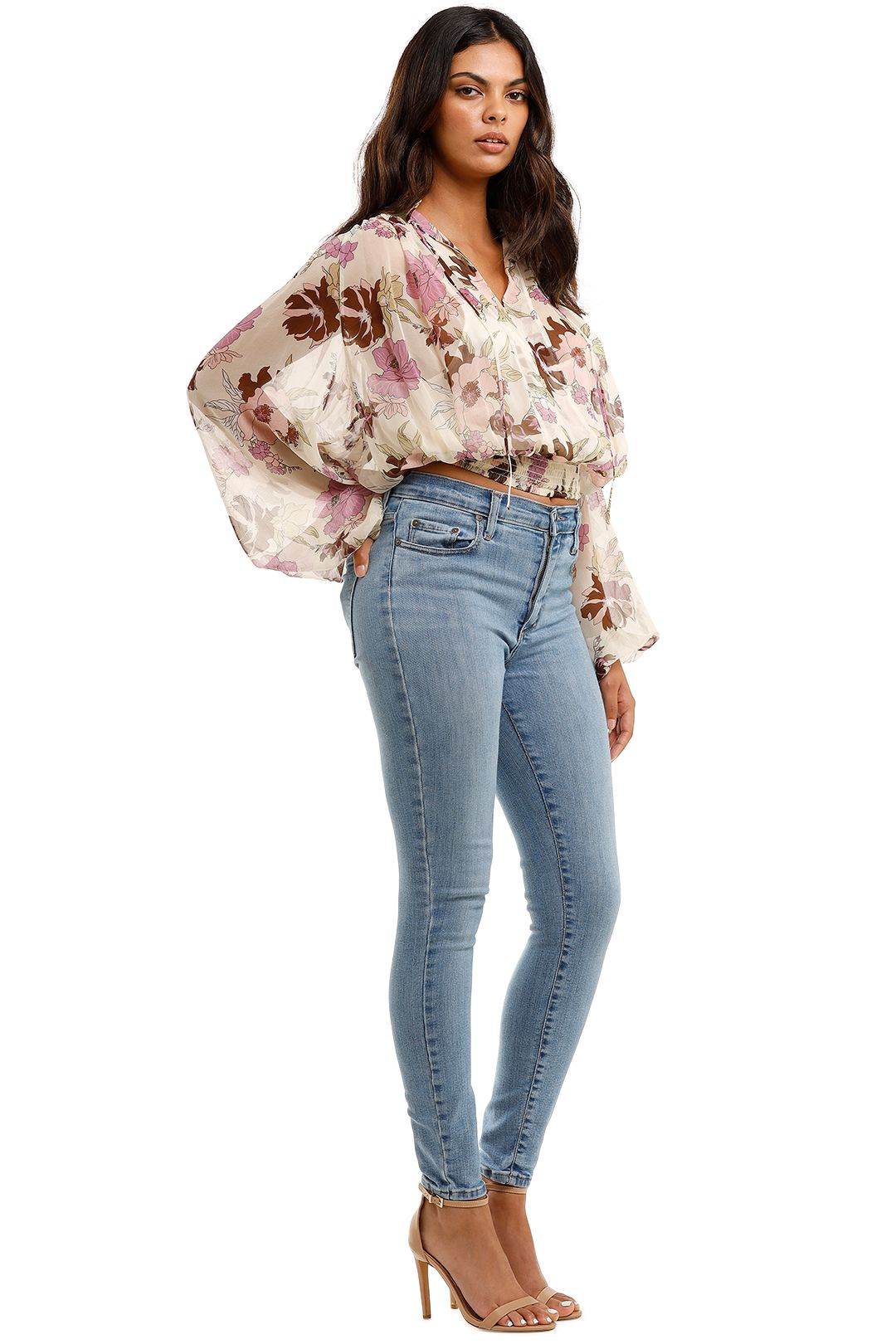 MLM Label Solstice Blouse Aster Floral Light Cropped