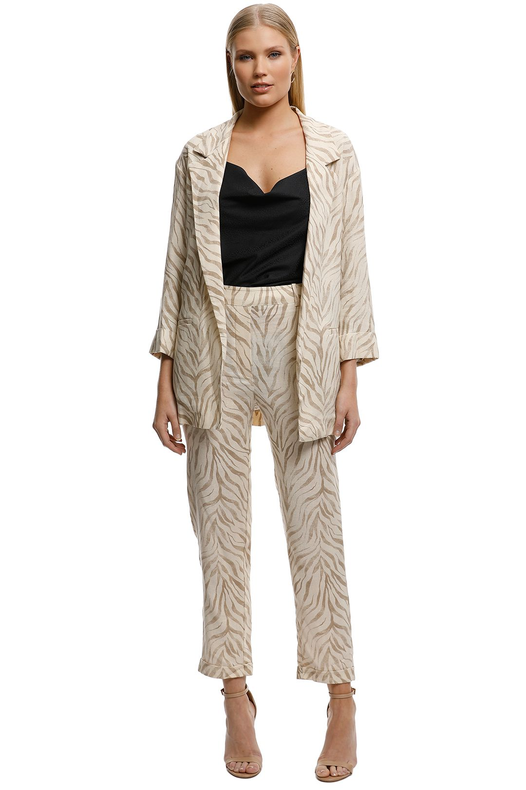MNG-Animal-Print-Suit-Blazer-Nude-Front