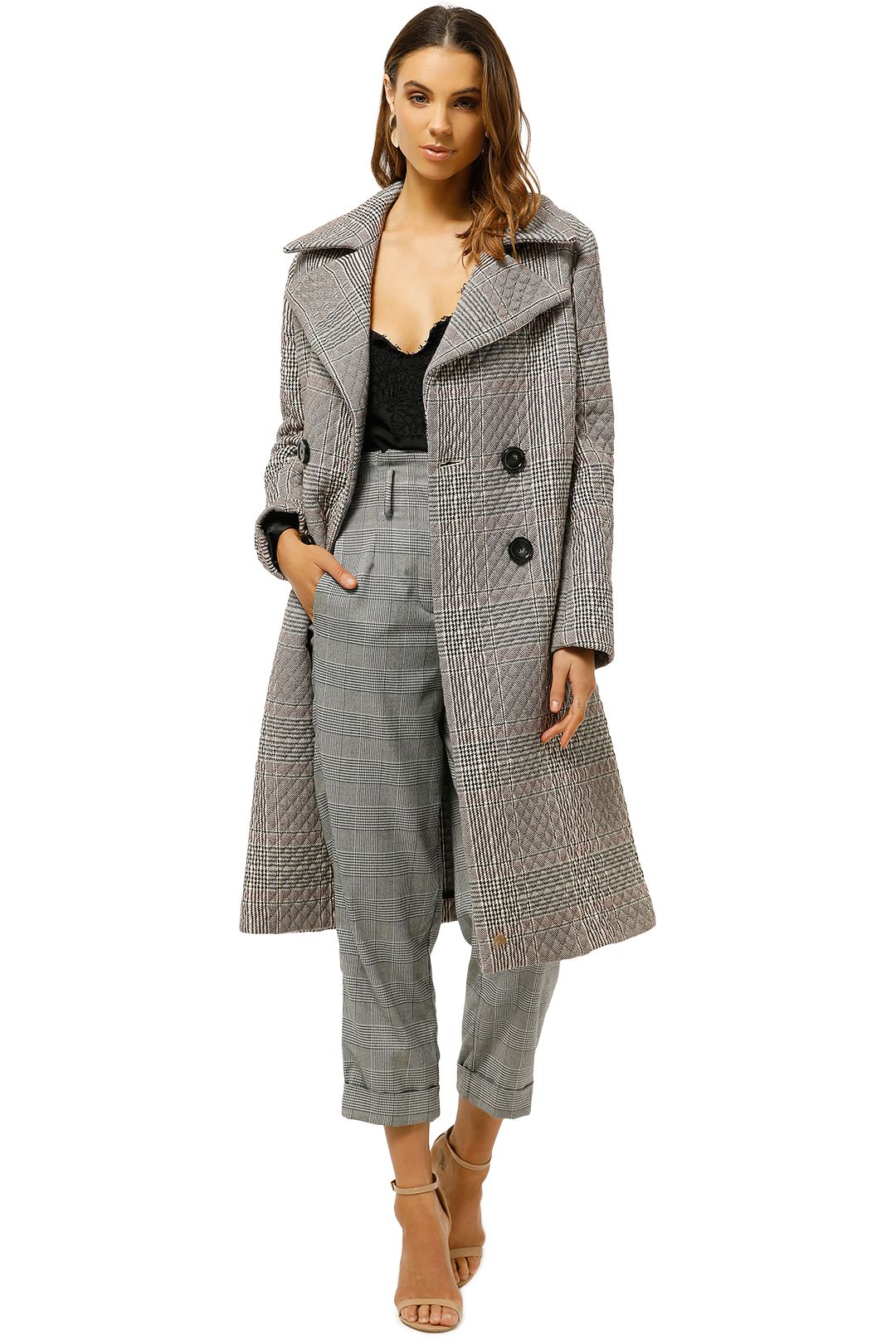 MNG-Check-Padded-Coat-Black-Check-Front-Open