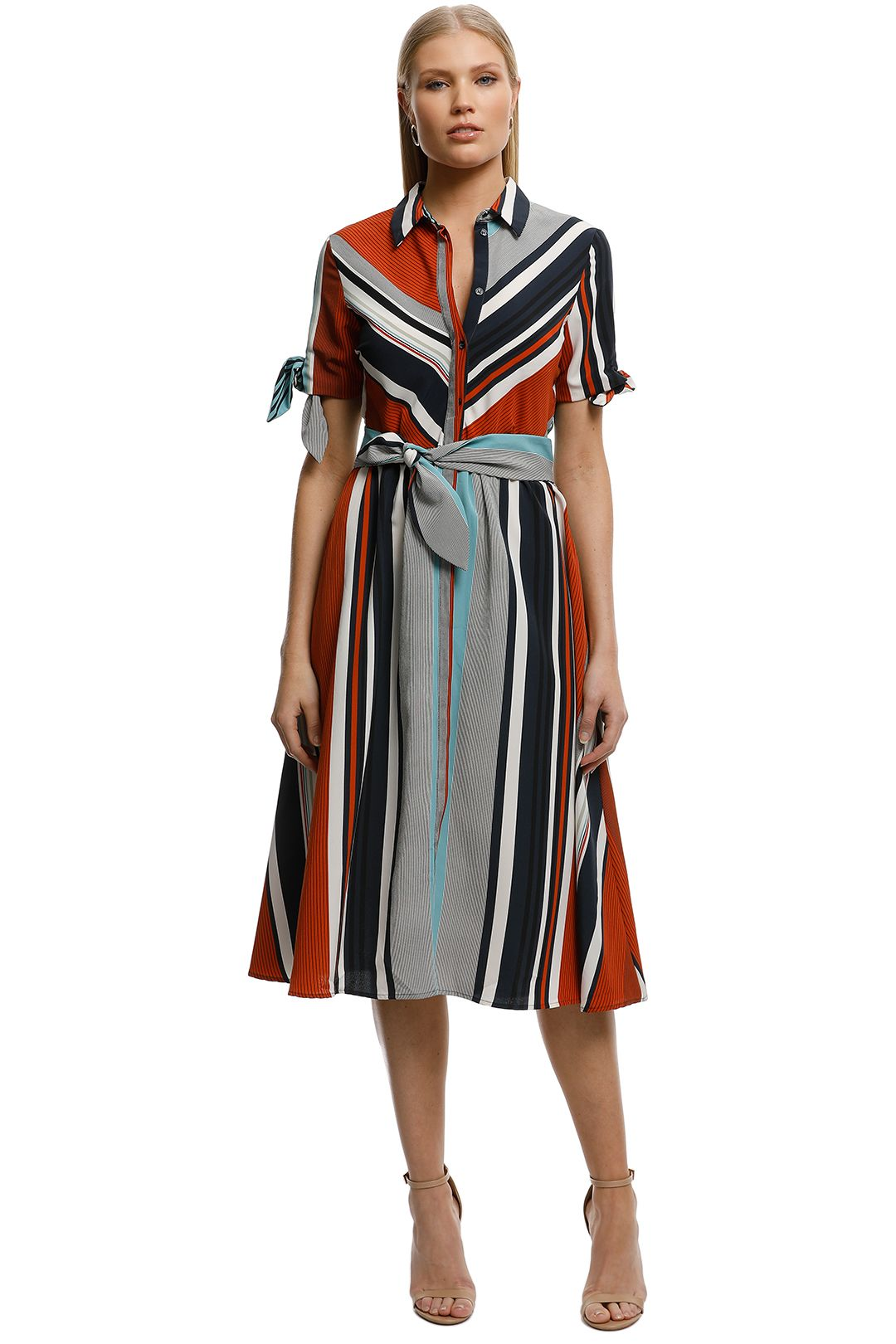 MNG-Mixed Striped Dress-Stripes-Front
