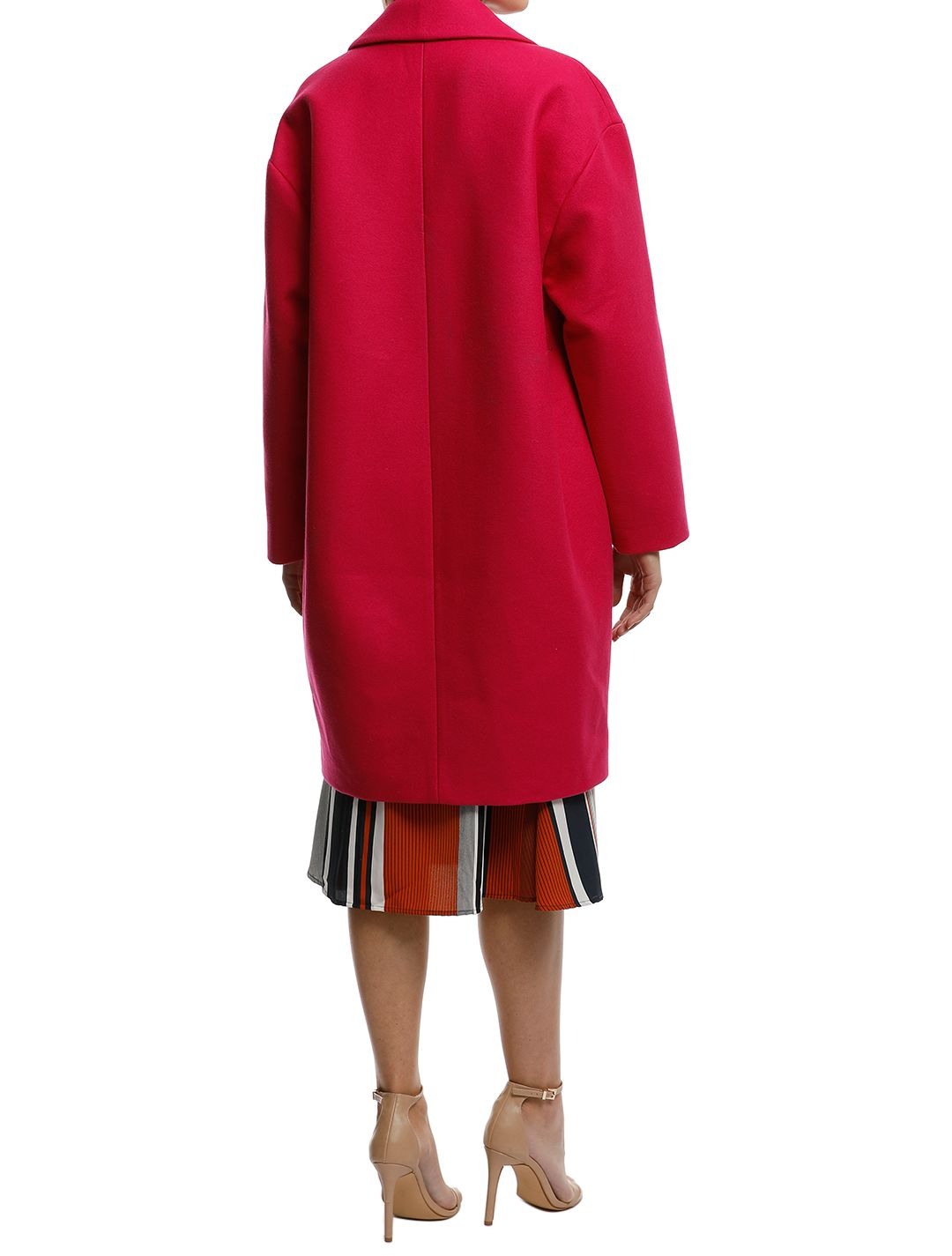 MNG-Unstructured-Wool-Blend-Coat-Fuchsia-Back