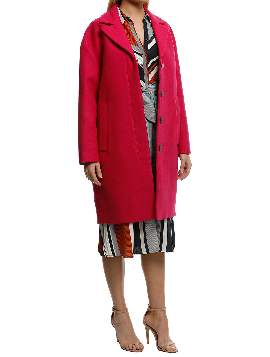 MNG-Unstructured-Wool-Blend-Coat-Fuchsia-Side